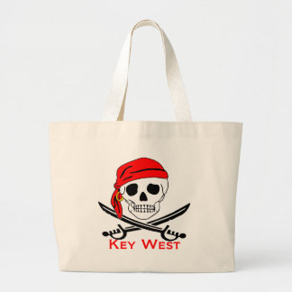 Pirate Skull Key West Large Tote Bag