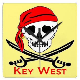 Pirate Skull Key West Square Wall Clock