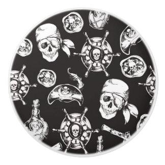 Pirate Skull Ship Wheel Ceramic Knob