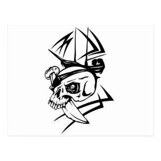 Pirate Skull Skeleton Sword Ship Tattoo Style Postcard