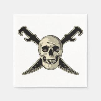 Pirate (Skull) - White Standard Cocktail Paper Nap Disposable Serviettes