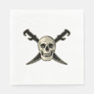 Pirate (Skull) - White Standard Luncheon Paper Nap Disposable Napkins
