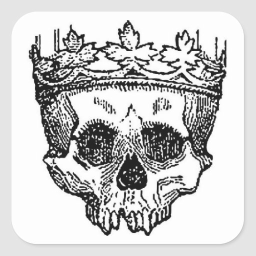 Pirate Skull with Crown Square Sticker