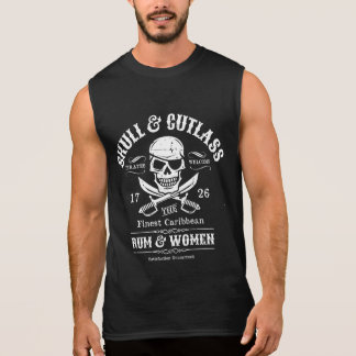 Pirate Skull with Eye Patch and Swords Sleeveless Shirt