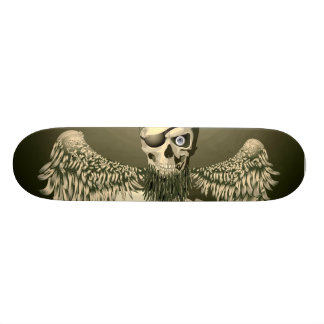 Pirate Skull With Wings Skateboard