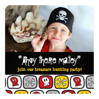Pirate Skulls & Bones Boy Birthday Party Invite