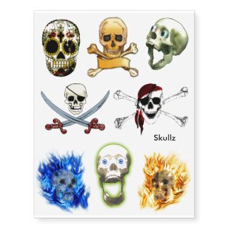 Pirate Skulls & Sugar Skulls Fun Tattoos Temporary Tattoos
