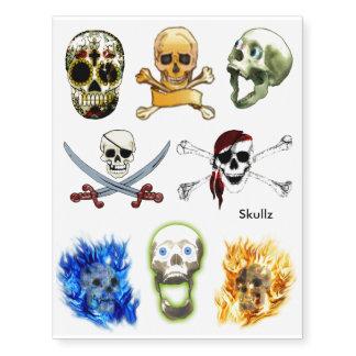 Pirate Skulls & Sugar Skulls Fun Tattoos Temporary Tattoos