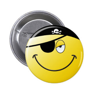 Pirate Smiley Face 6 Cm Round Badge