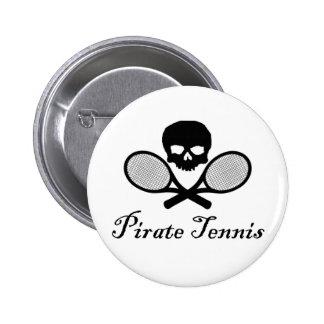 Pirate Tennis Skull & Racquet 6 Cm Round Badge