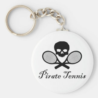 Pirate Tennis Skull & Racquet Basic Round Button Key Ring