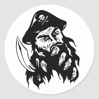 Pirate Theme Party Accessories Bearded Pirate Classic Round Sticker
