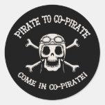 Pirate to Co-Pirate Round Stickers