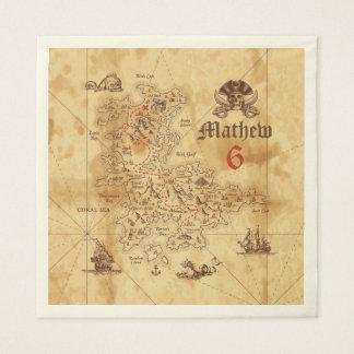 Pirate Treasure Map Birthday Paper Napkins Disposable Serviette