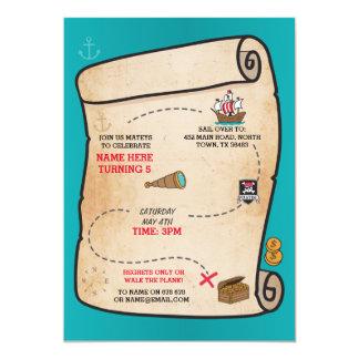 Pirate Treasure Map Birthday Ship Party Invite