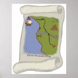 Pirate treasure map Game Poster