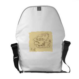 Pirate Treasure Map Sailing Ship Drawing Courier Bag