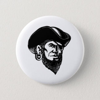 Pirate Wearing Eye Patch Scratchboard 6 Cm Round Badge