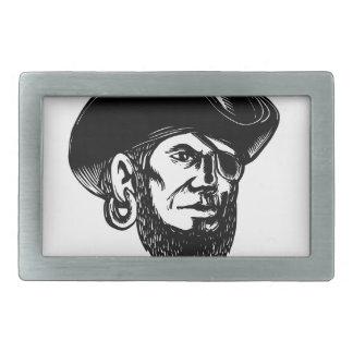 Pirate Wearing Eye Patch Scratchboard Belt Buckle