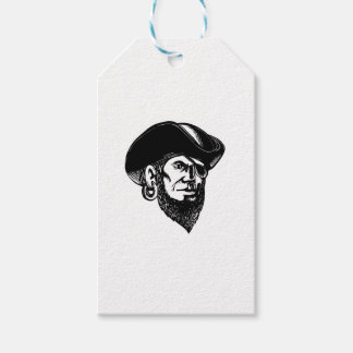 Pirate Wearing Eye Patch Scratchboard Gift Tags