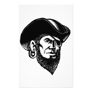 Pirate Wearing Eye Patch Scratchboard Stationery