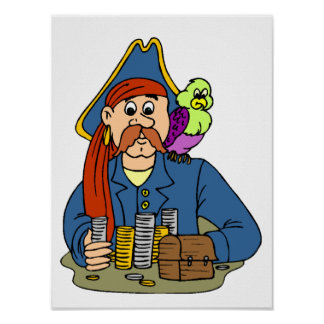 Pirate with green, purple parrot counting money poster