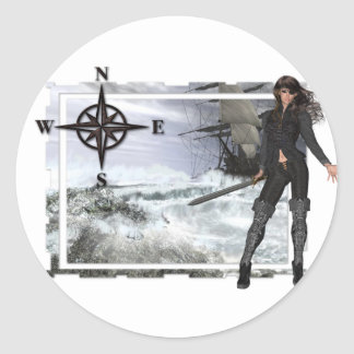 Pirate Woman with Rough Waters Designs Classic Round Sticker