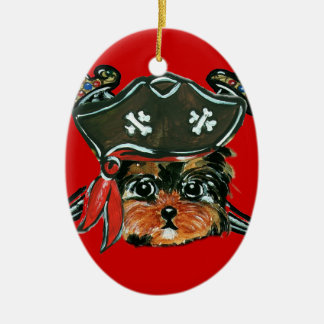 Pirate Yorkie Poo Ceramic Ornament
