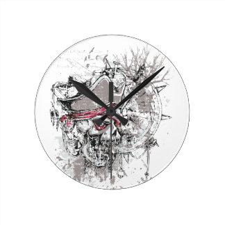 pirated dead skull vintage design clock
