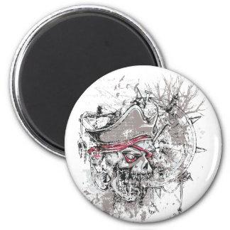 pirated dead skull vintage design magnet