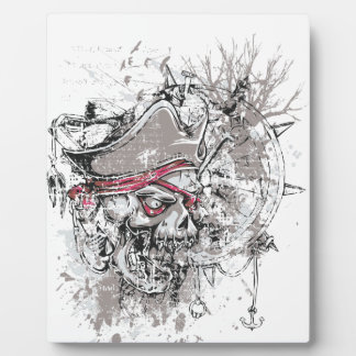 pirated dead skull vintage design plaque