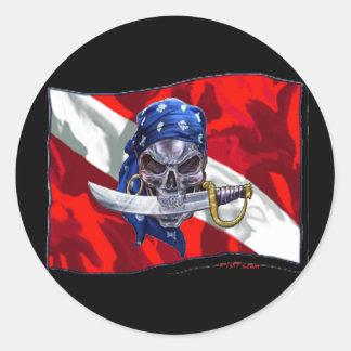 piratediveflag copy round sticker