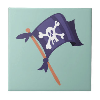 Piratenfahne pirate flag small square tile