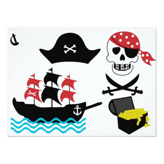 Pirates 14 Cm X 19 Cm Invitation Card