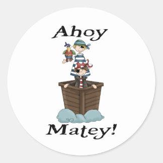 Pirates Ahoy Matey Round Sticker