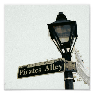 Pirate's Alley in Black & White Poster