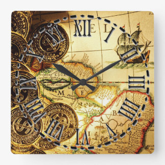Pirates Gold Treasure Map Wall Clock
