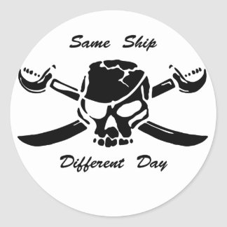 Pirates Jolly Roger Same Ship Different Day Classic Round Sticker