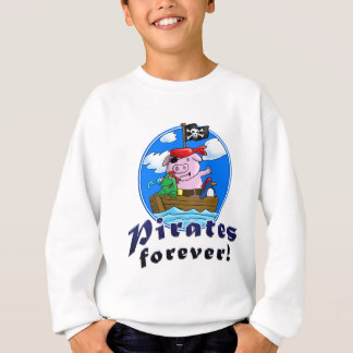 pirates more forver, comic pig, penguin, frog sweatshirt