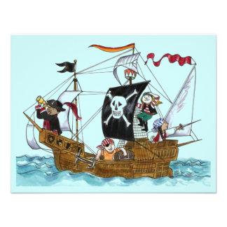 PIRATES PARTY THEME SHIP SAILS JR FLAG INVITATION