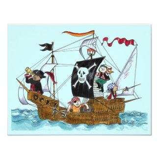 PIRATES PARTY THEME SHIP SAILS JR FLAG INVITATION