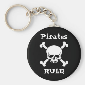 Pirates Rule! Basic Round Button Key Ring