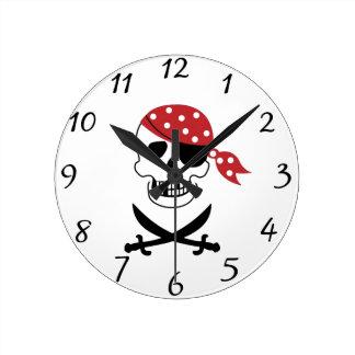 Pirates Skull Clock
