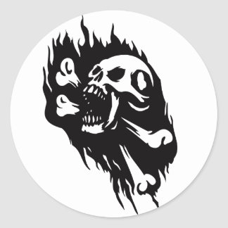 Pirates Theme Party Accessories Screaming Skull Classic Round Sticker