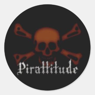 Pirattitude Blood Jolly Roger Round Sticker