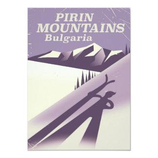 Pirin Mountains Bulgaria ski poster Card