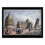 Pisa Basilica and Tower 1830 Art Vintage Poster
