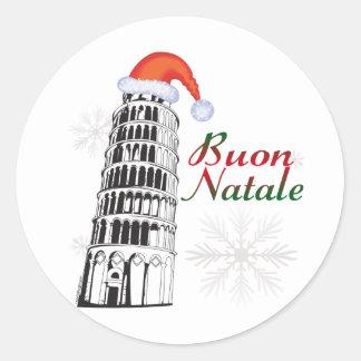 Pisa Buon Natale Classic Round Sticker