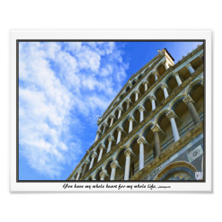 Pisa Cathedral with Love Quote Photographic Print