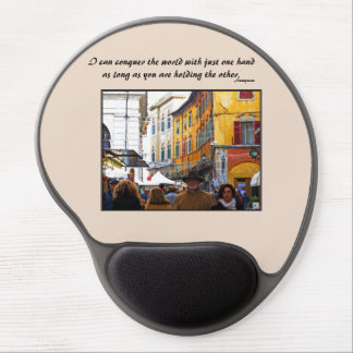 Pisa Market In Alley with Love Quote Gel Mouse Pad